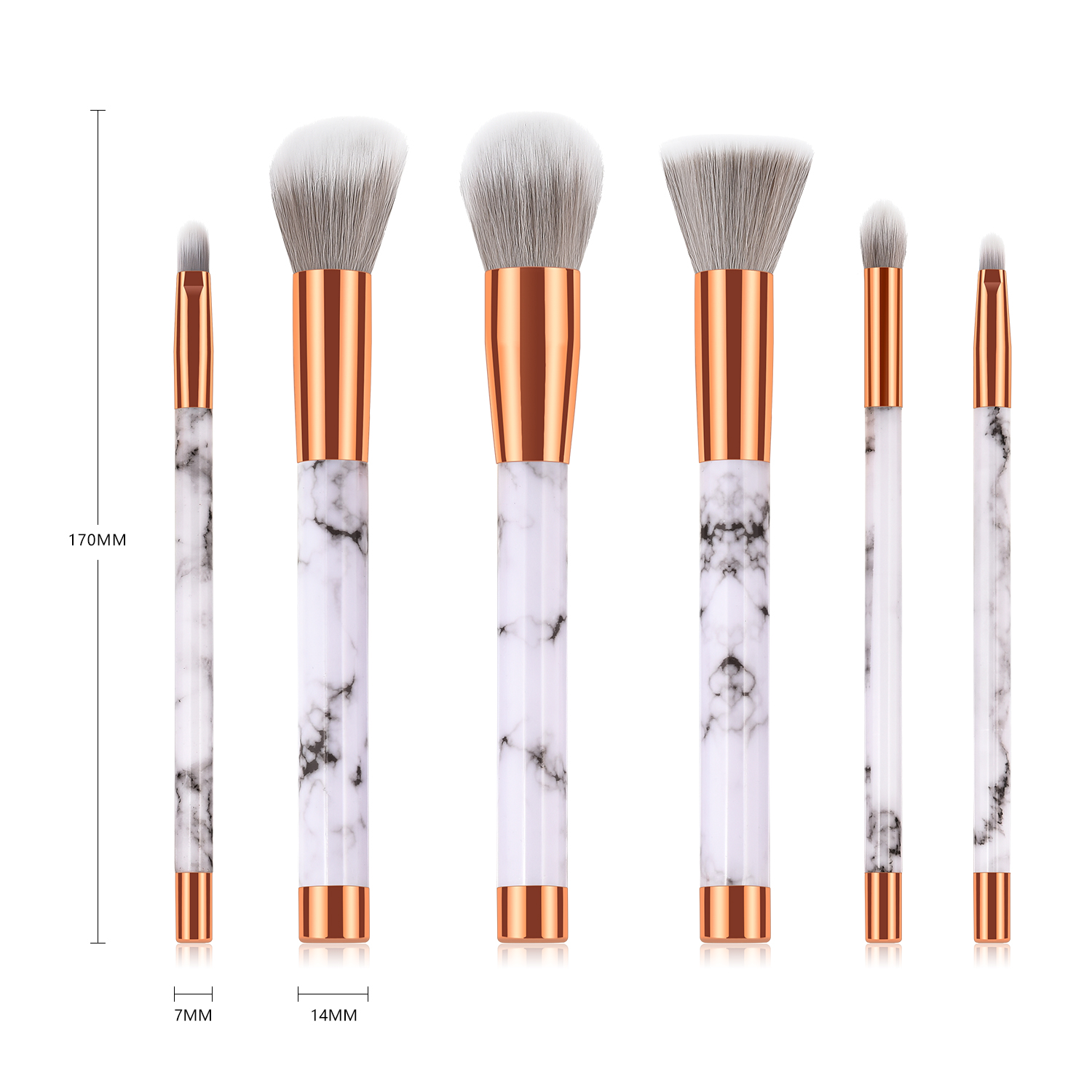 new stone stripes 6pcs synthetic hair brush