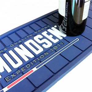 Custom embossed soft pvc rubber anti slip bar mat with print logo