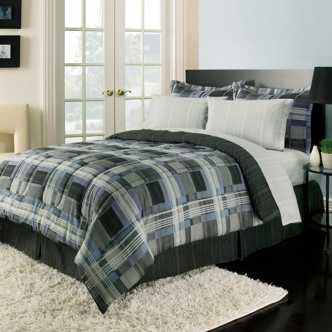 Royal 8 Piece Full Blue Plaid Comforter Set Black Grey, Reversible Bedding with Sheet Set, Stripe Plaid Squares Pattern, Modern & Classic