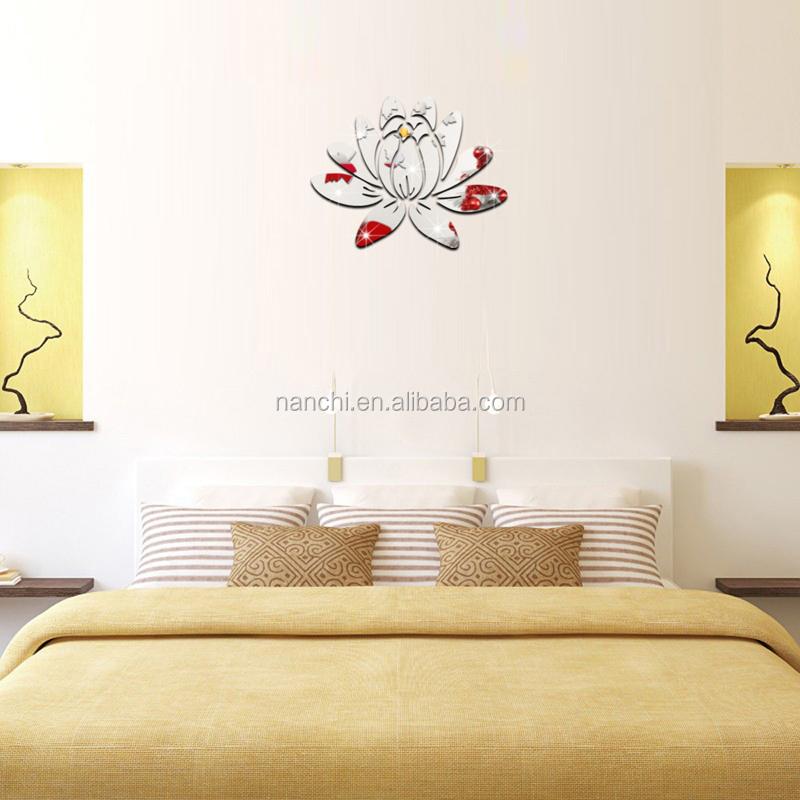 Klassieke elegantie verse lotus bloem 3D spiegel stickers TV ...