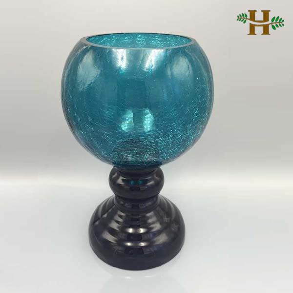 Broken Glass Vase: 2015 New Product Modern Broken Teal Glass Vase With Base