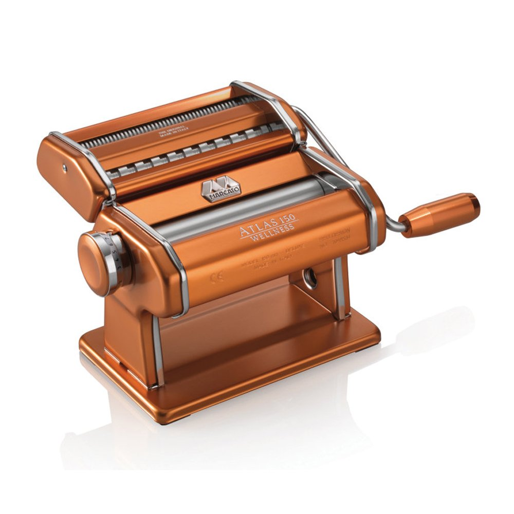 Marcato Atlas Pasta Machine, Made in Italy, Copper, Includes Pasta Cutter, Hand Crank, and Instructions