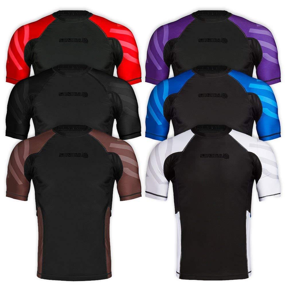 Sanabul Essentials Short Sleeve Compression MMA BJJ Wrestling Cross Training Rash Guard