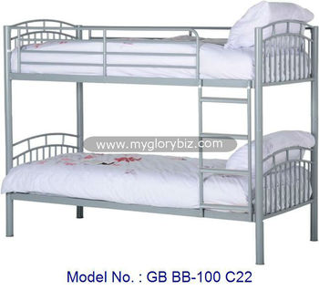 Metal Loft Bunk Bed In White Color For Adult With Ladder Double Decker Bedroom Furniture