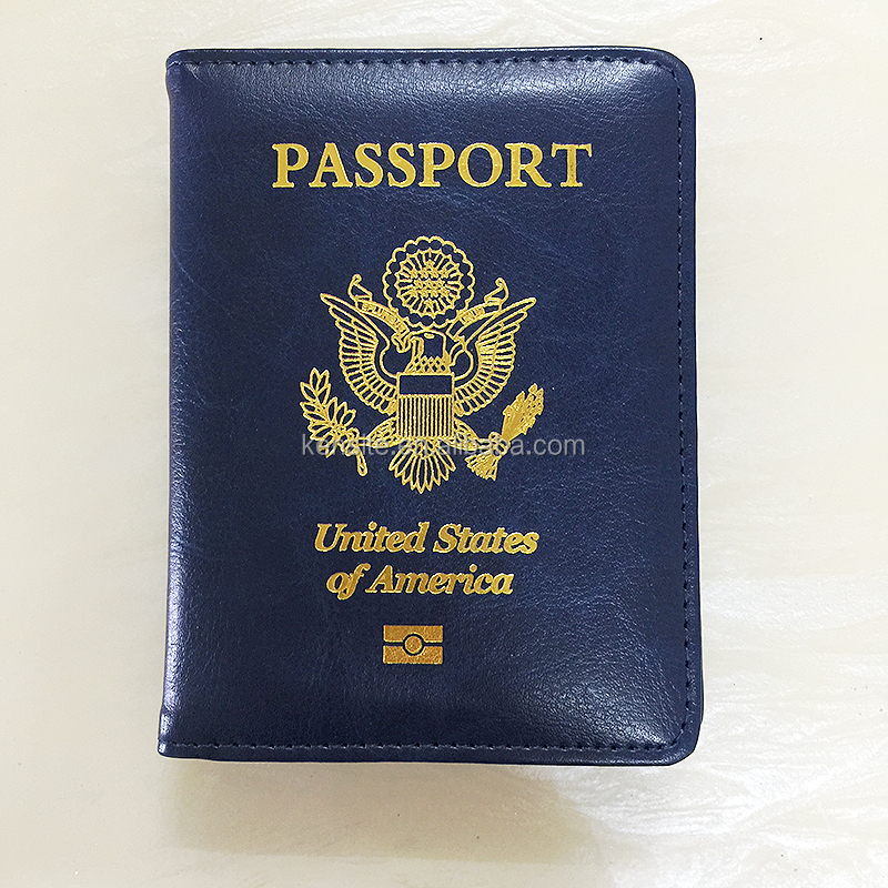 USA gold hot stamping leather wholesale passport cover