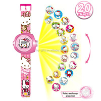 fashion wholesale hello kitty watch pink waterproof projector girl 3d digital watch