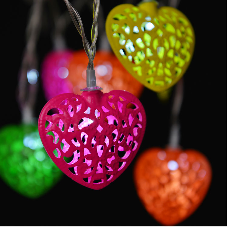 wholesale heart shape christmas indoor 50 led lights party