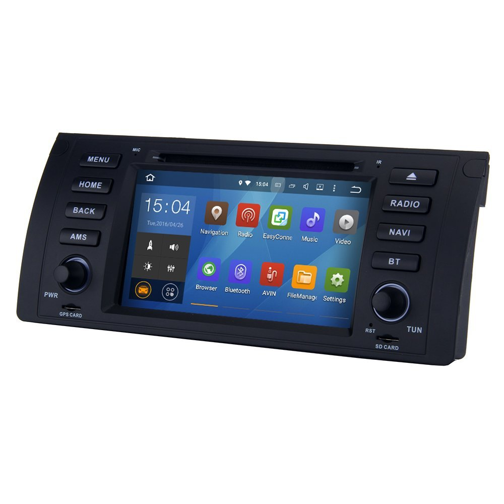 SYGAV Android 5.1.1 Lollipop Car Stereo CD DVD Player for BMW 5 E39 X5 E53 M5 with Quad Core Radio 2 Din 7 Inch 1024x600 In-dash GPS Sat Navigation
