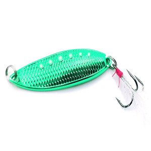 New Product Metal Fishing Spinner Lures Baits with Feather Stainless Steel Treble