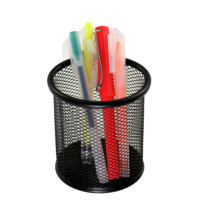 Wideny promotion wholesale stationery single office desk desktop table mesh metal black pencil cup pen holder for stand