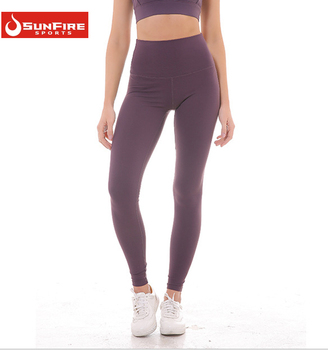 6166630b59c946 OEM strethed polyester spandex leggings capri sexy yoga pants with custom  private logo printed
