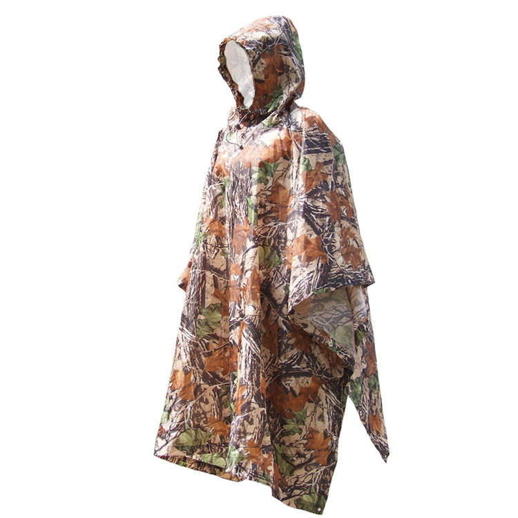 Camouflage Color Customized Logo Printed Jungle March Multi-function Canopy Lightweight Outdoor Waterproof Poncho Raincoat