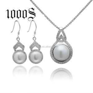Luxury Jewelry Sets Pearl Freshwater Silver Earrings and Pendant Set for Women