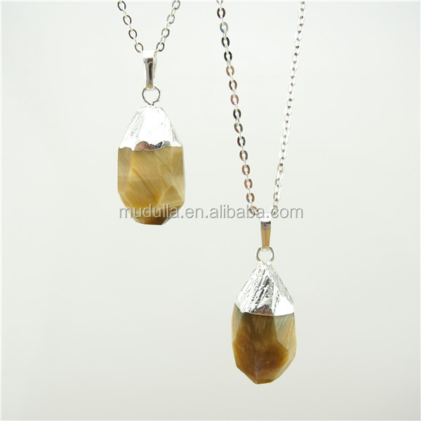 N090 Yellow Pearl Pendant Necklace Mother Of Pearl