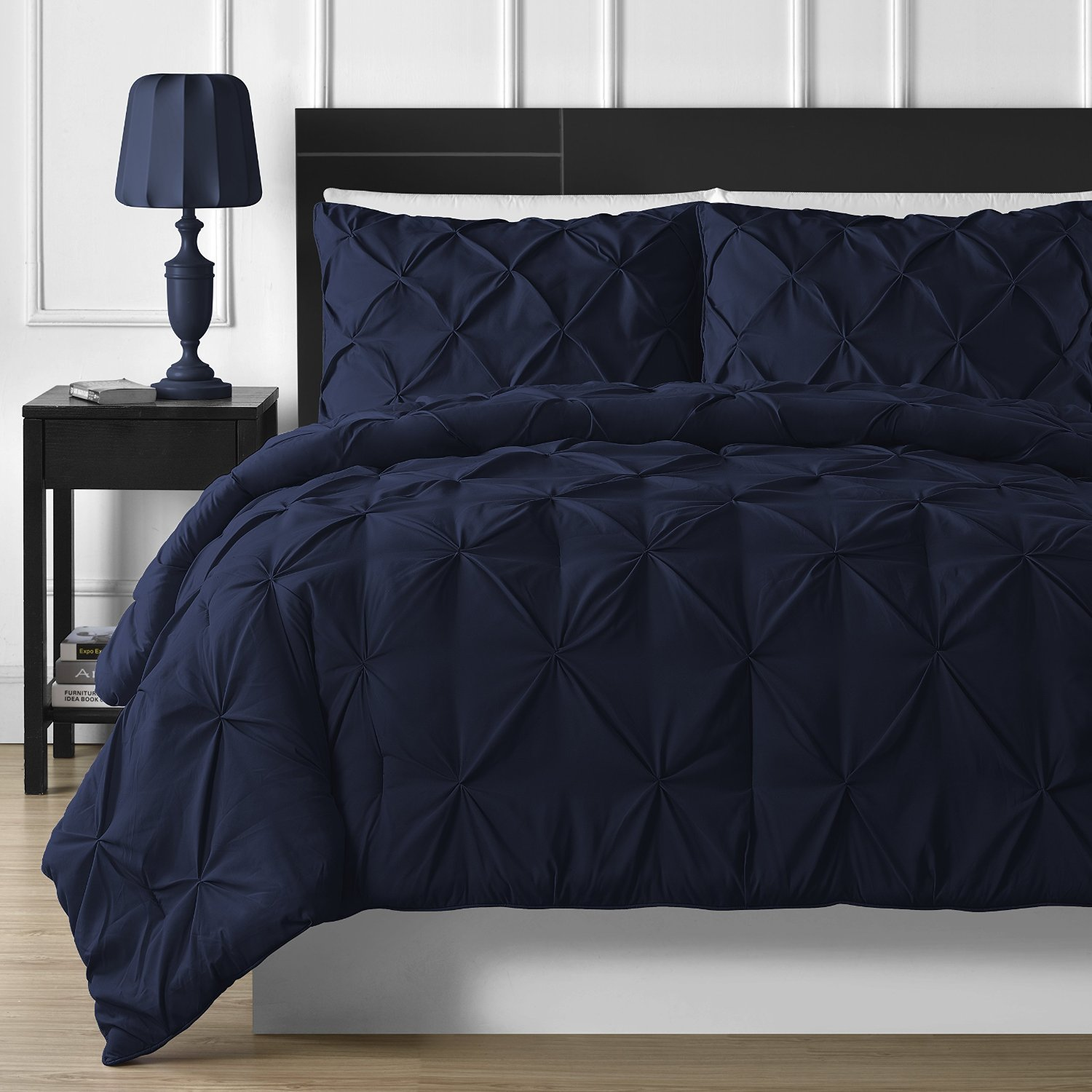 Fancy Collection 3pc Full//Queen Comforter Set Down Alternative Solid Navy Blue New #Down Alternative Navy Blue
