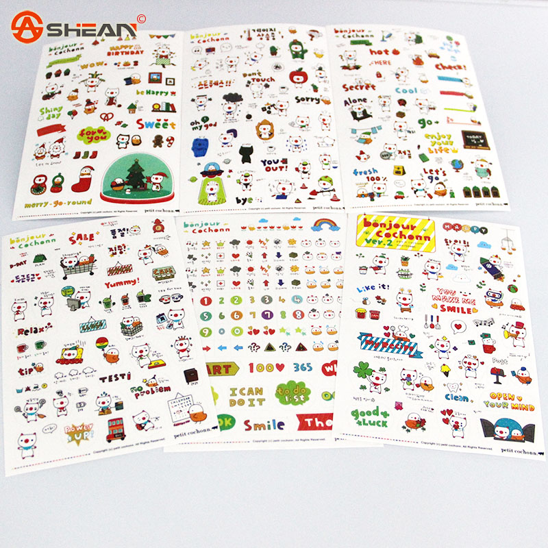 New Lovely 6 Sheet Paper Stickers for Diary Scrapbook Notebooks Writing Pads Memo Pad Stationery Sticker