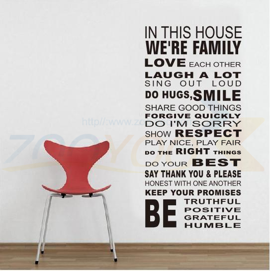 Home decor creative many world to harmony rules quote wall decal decorative removable adhesive vinyl wall sticker