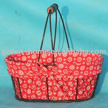 metal wire basket with liner