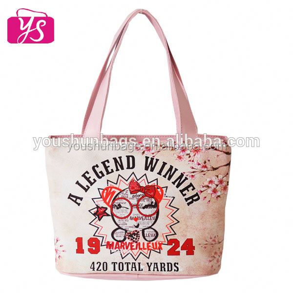 Cute Design Sakura Flower Printing Mini Kids Handbags Tote Bag for Girls