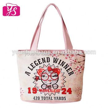 Cute Design Sakura Flower Printing Mini Kids Handbags Tote Bag for Girls