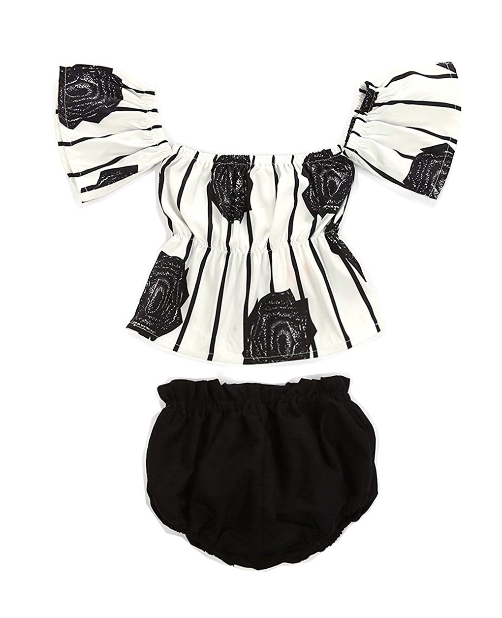 5114046f99c1 Get Quotations · Urkutoba 2pcs Baby Girl Black Rose Floral Black Stripes  Print Off Shoulder Ruffle Sleeve T-