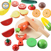 YHHM102 RDT Educational Vegetables Fruits Happy Cut Wood Toys with Magnet Kids Home Play Kitchen Wood Toys Sets