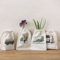 Cotton Canvas Linen Color Printing Pure Natural Drawstring Pouch, Packaging Supply Bag