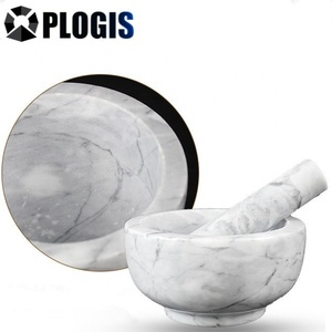 White and Black Marble Stone Mortar and Pestle Natural