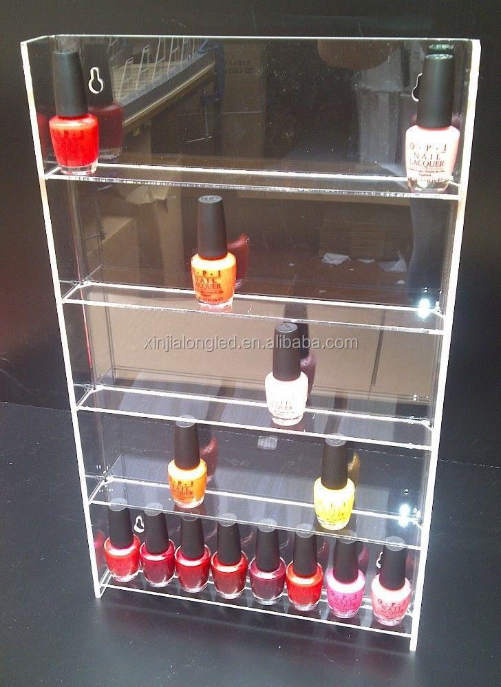 Multi Layer Clear Acrylic Nail Polish Cosmetic Display Stand Pure Acrylic Wall Mountable Nail Polish Display Shelf