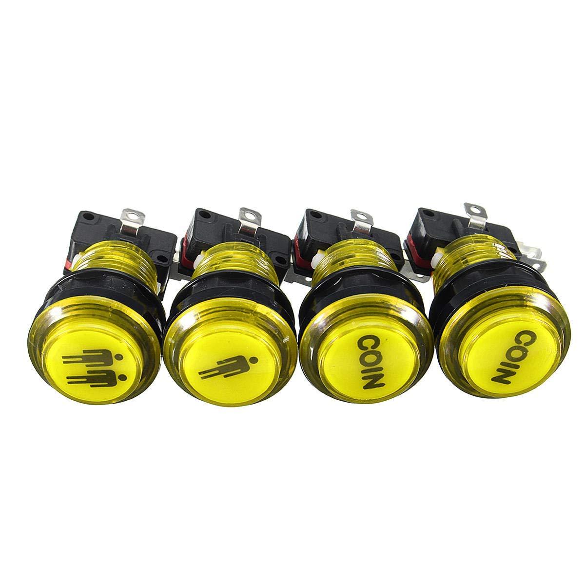 LED Arcade Single Dual Start Player Coin Push Button - Arcade Video Games DIY Push Button - (Yellow) - 1 x 1P LED Push Button, 1 x 2P LED Push Button, 2 x COIN LED