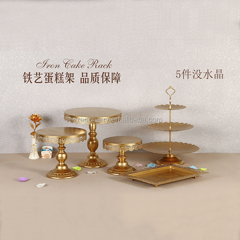 Fine dessert table, wrought iron three layers of multi-layer cake wearing suits, afternoon tea cake tray heart 5 dresses