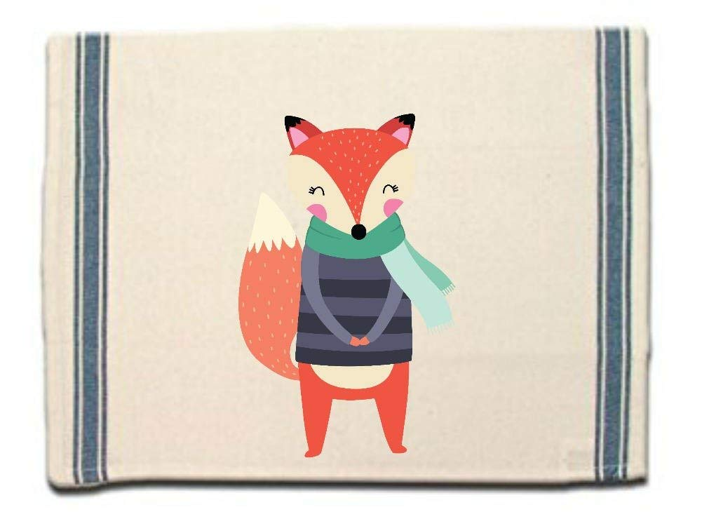 Fox in Scarf & Sweater Kitchen Towel, Dish Towel,Tea Towel,Flour Sack Material,Woodland Animals Dish Towels,Flour Sack Kitchen Towel,Dish Cloth