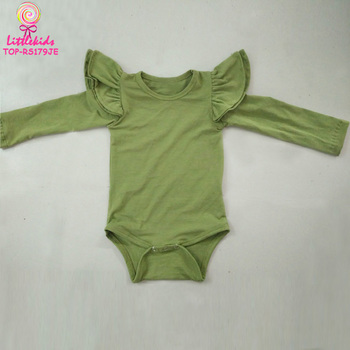 88482f4b6f1f Wholesale Olive Green Baby Girl Romper Onesie Two Cotton Flutter Ruffles  Long Sleeve Toddler Rompers