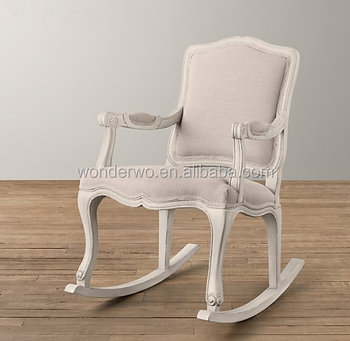 Exceptionnel Antique French Louis Style Wooden Rocking Chair Linen Upholstered Glider  Chair