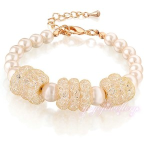 fashionable jewelry handmade pearl beads mesh clarity crystal gold plated 2015 bracelet