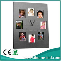 Aluminium table clock with photo frame for home deocr