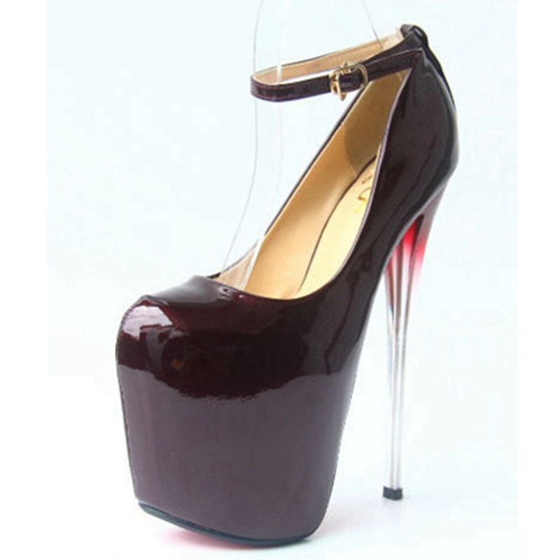 fe9816b6a625b8 Get Quotations · Sexy Nightclubs High Heels 2015 Patent Leather Red Wine  Pumps Sexy Plus Size Red Bottoms Salto