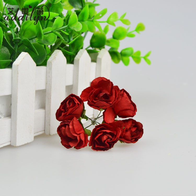 Red Rose with Green Leaf Paper Flower Model Factory