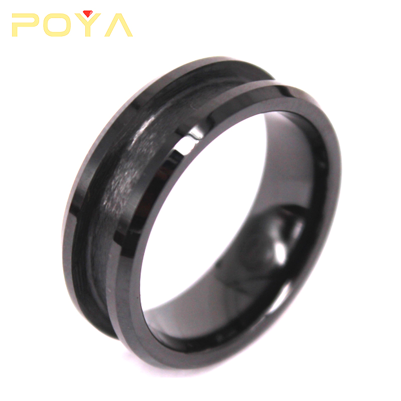POYA Jewelry Cheap Black 8mm Blank Tungsten Carbide Wedding Ring For Inlay