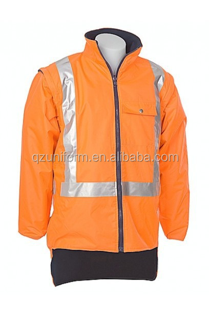 Long Sleeve <strong>Orange</strong> One Tone 3M reflective tape cotton hi vis drill fleece safety work jacket