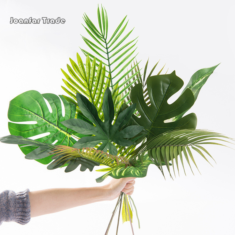 Wholesale <strong>Artificial</strong> Indoor DIY 40cm 60cm Large size Tropical <strong>Leaves</strong> <strong>Green</strong> Turtle Plam Leaf <strong>Artificial</strong> <strong>Leaves</strong> for Decoration