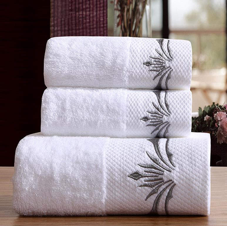 Luxury Plain Terry cloth 100% cotton White Bath Hotel towel set jacquard hotel towel