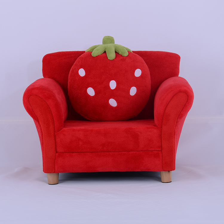Kids Toddlers Sofa Lounge Couch Strawberry Single Seat Red