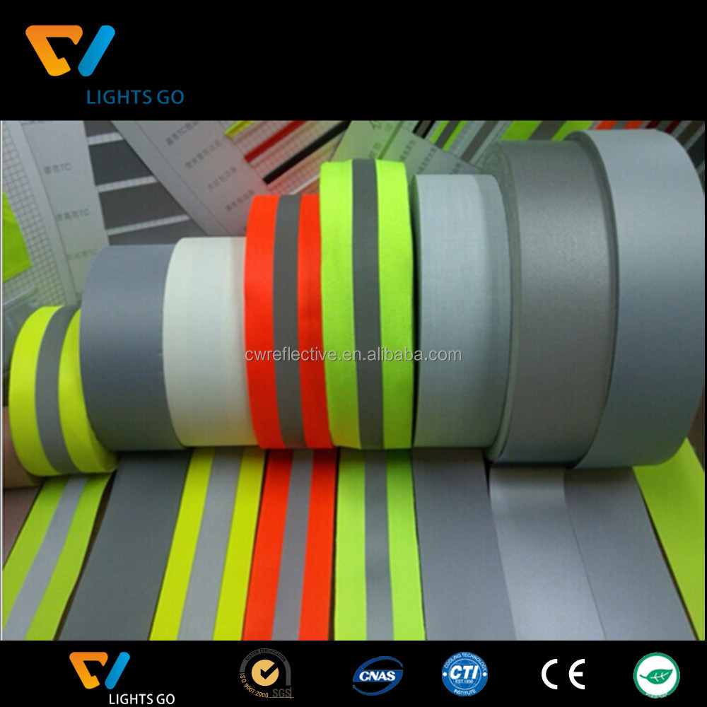 glow in the dark high visibility reflective elastic ribbon cord tape for collar