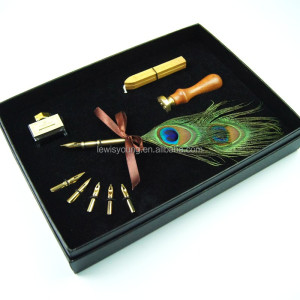 natural two eyes peacock calligraphy pen set wax seal stamp