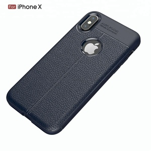 Mobile phone accessories soft litchi tpu case for iphone x 8 7 6 auto focus case phone cover