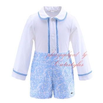 Cutestyle Latest Autumn Boy Clothing Sets With Lace Hem Collar Blue Jacquard Boutique Kids Thanksgiving Outfit B-DMCS908-898