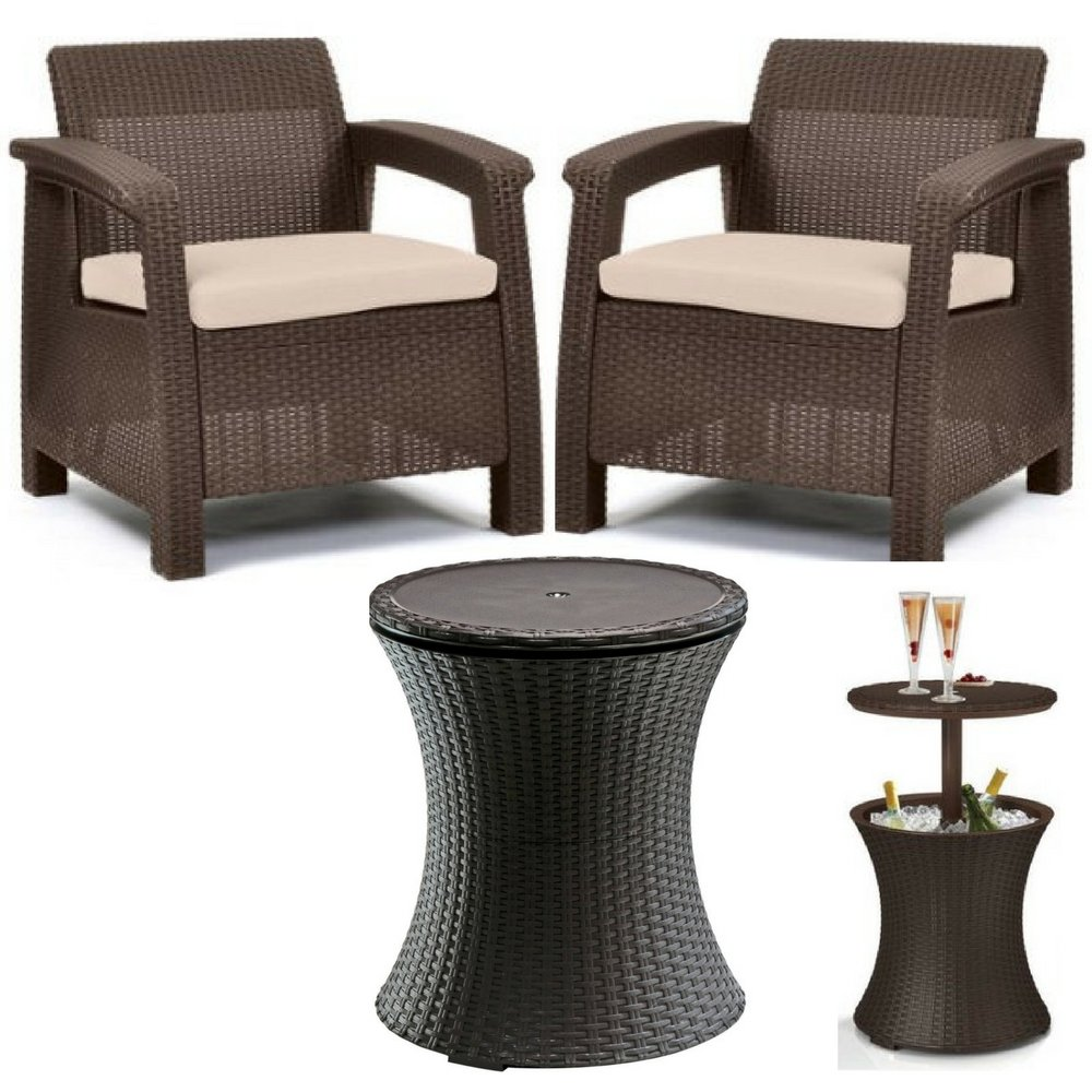 Keter Corfu Maintenance Free Outdoor Comfort Patio Conversation Set 2 Armchair With Weatherproof Seat Cushions Brown & Bar Style Patio Beverage Cooler Bar Table All Weather Heavy Duty Woven Bundle