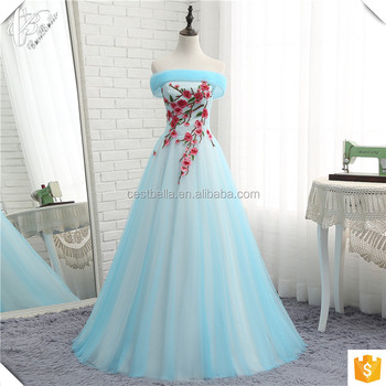 Oy083 Puff Ball Gown Princess Dresses Light Blue Coral Tulle Skirt ...
