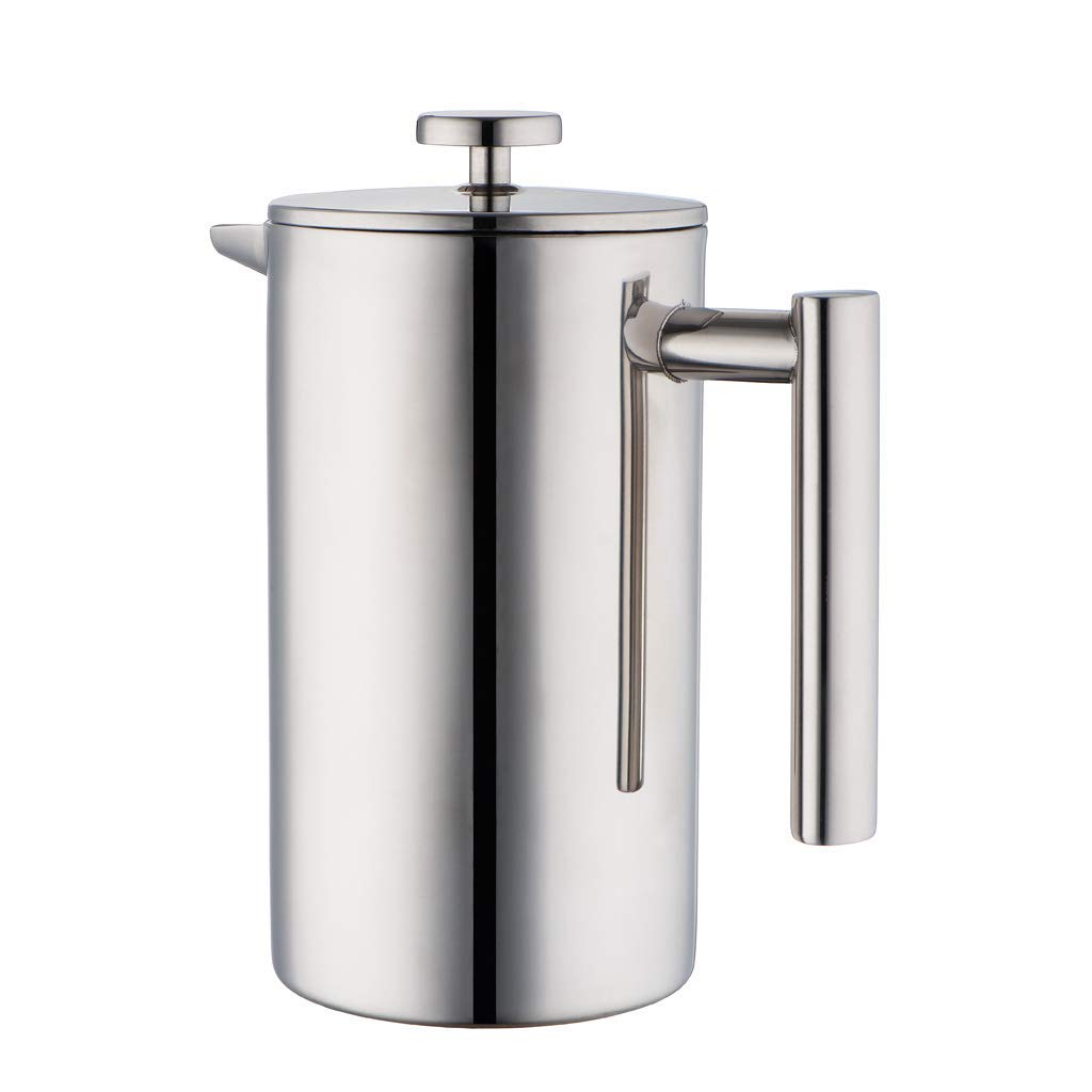 MIRA Stainless Steel French Press Coffee Maker | Double Walled Insulated Coffee & Tea Brewer Pot & Maker | Keeps Brewed Coffee or Tea Hot | 34 Oz (1000 ml) with 3 Extra Filters